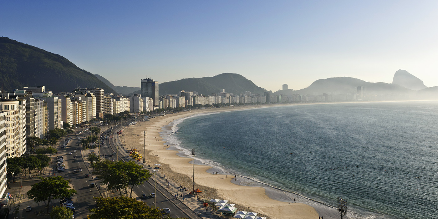 View of the Copacabana beach from the hotel