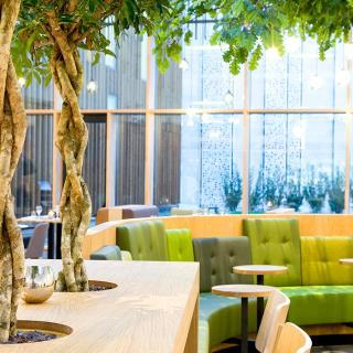 Green lobby of an hotel, with trees coming out of the tables